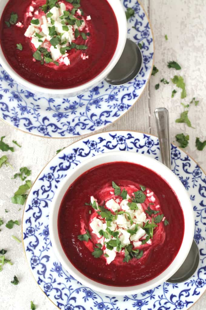 beetroot and carrot soup with feta