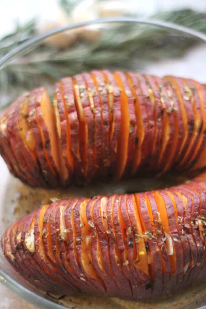 garlic oregano hasselback sweet potato