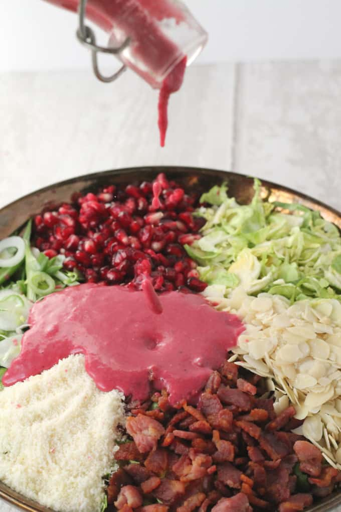 salad served with pomegranate dressing