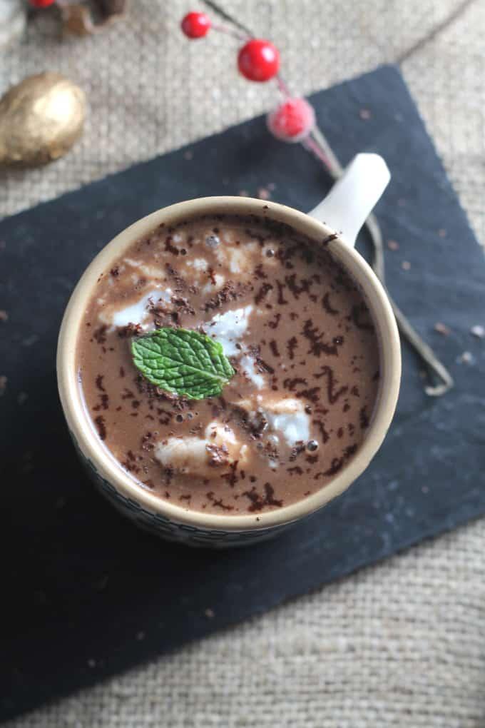 vegan mint hot chocolate cocoa
