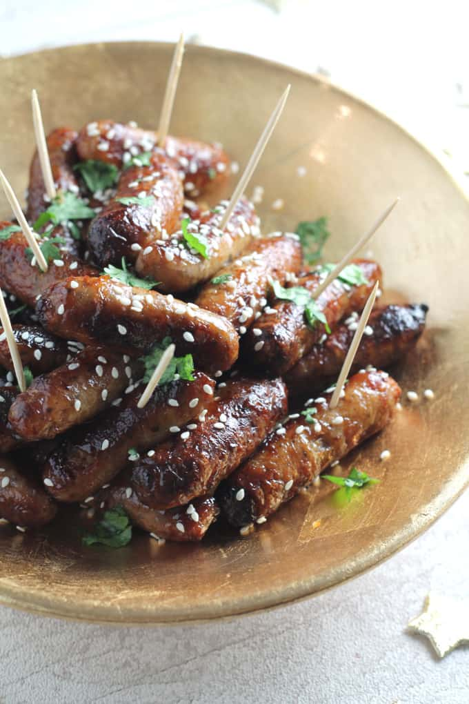 sticky asian mini sausages christmas