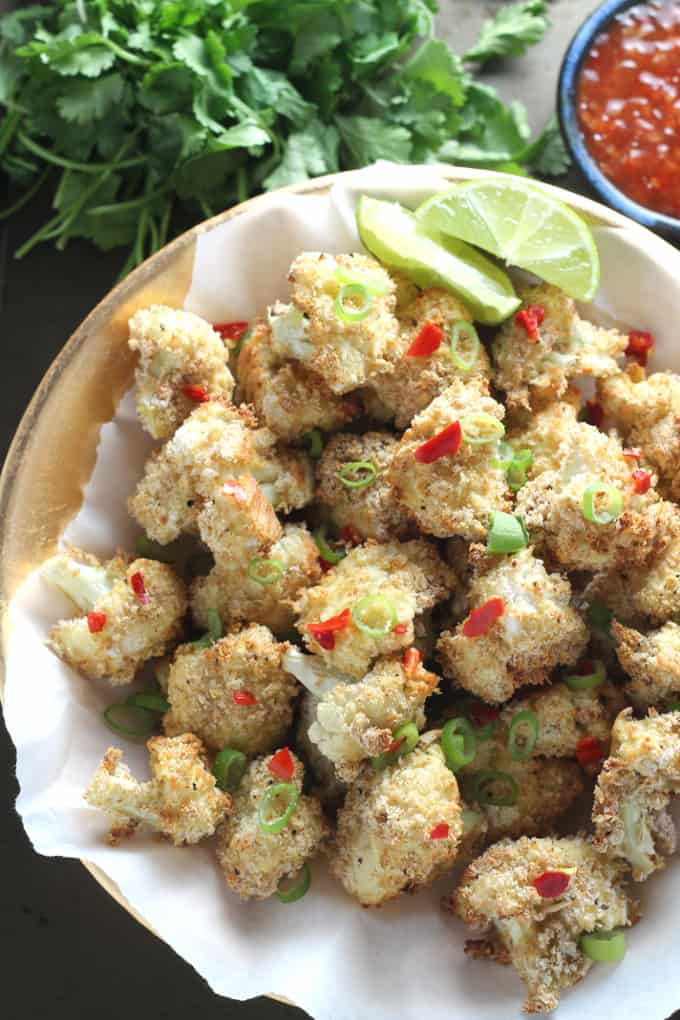 baked salt and pepper cauliflower bites poppers