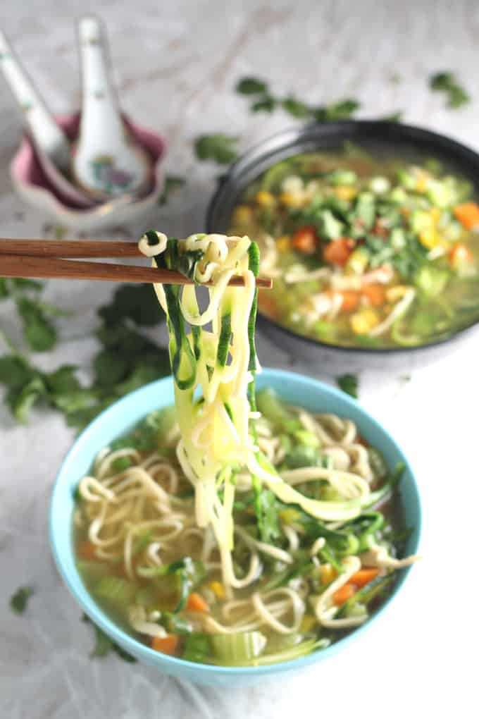 e chicken noodle zoodle soup