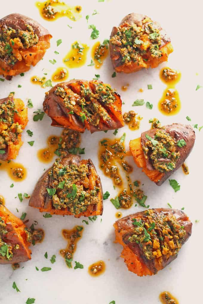 smashed sweet potatoes with pesto
