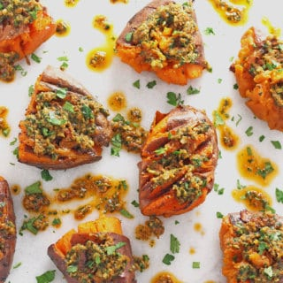 smashed sweet potatoes with sundried tomato pesto