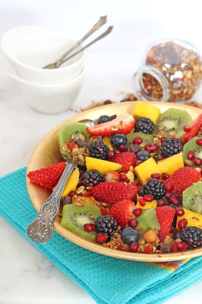 fruit salad honey lime dressing chocolate chip granola