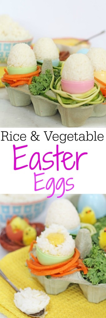 "A healthy twist on Easter eggs, made with sticky rice and spiralized vegetables. Crack open the rice egg to reveal the hidden vegetable ""yolk""!"