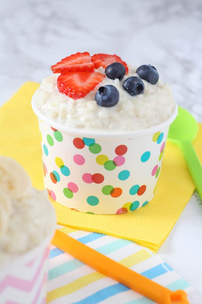 sugar free rice pudding topped with strawberries & blueberries