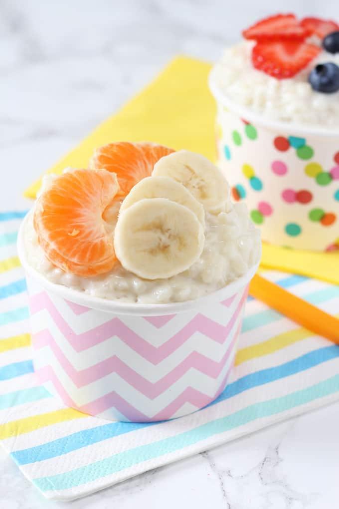 sugar free rice pudding topped with banana & satsumas
