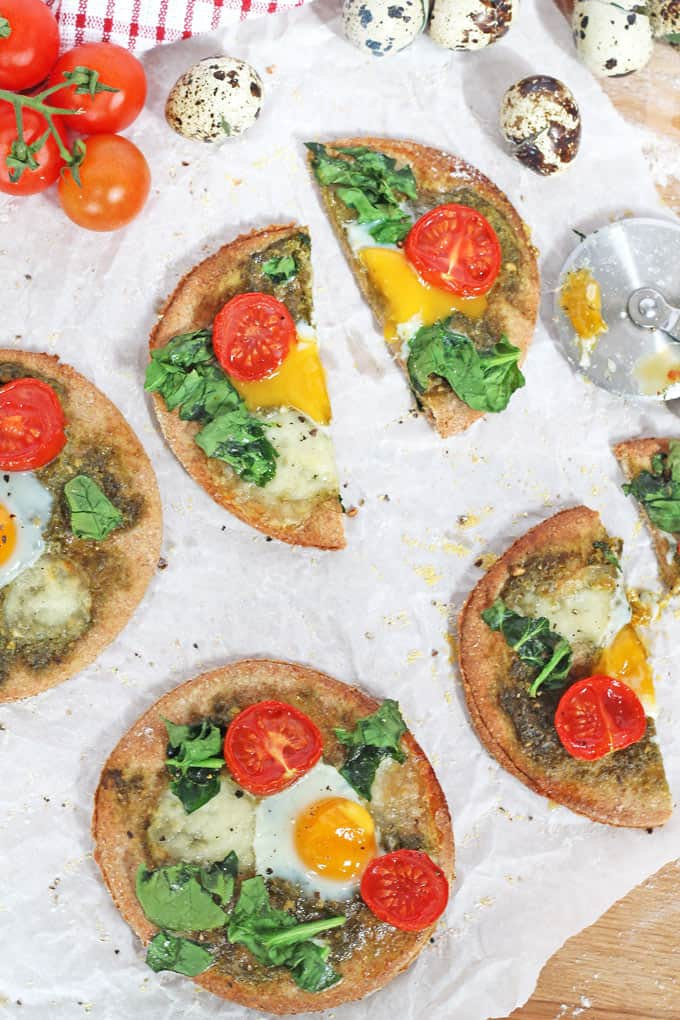 Breakfast Pizza with Quail Eggs, Spinach & Tomato | My Fussy Eater Blog
