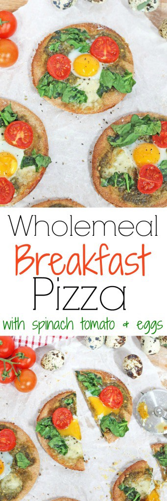 Pizza for breakfast that's delicious AND healthy! Try this Wholemeal Pizza recipe topped with pesto, mozzarella and quail eggs | My Fussy Eater Blog