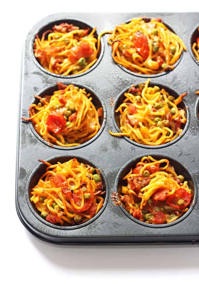 Use that leftover spaghetti to make these easy and delicious Leftover Spaghetti Nests! | My Fussy Eater Blog
