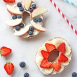 A super easy breakfast for kids; a bagel topped with honey and vanilla cream cheese and fresh fruit | My Fussy Eater blog