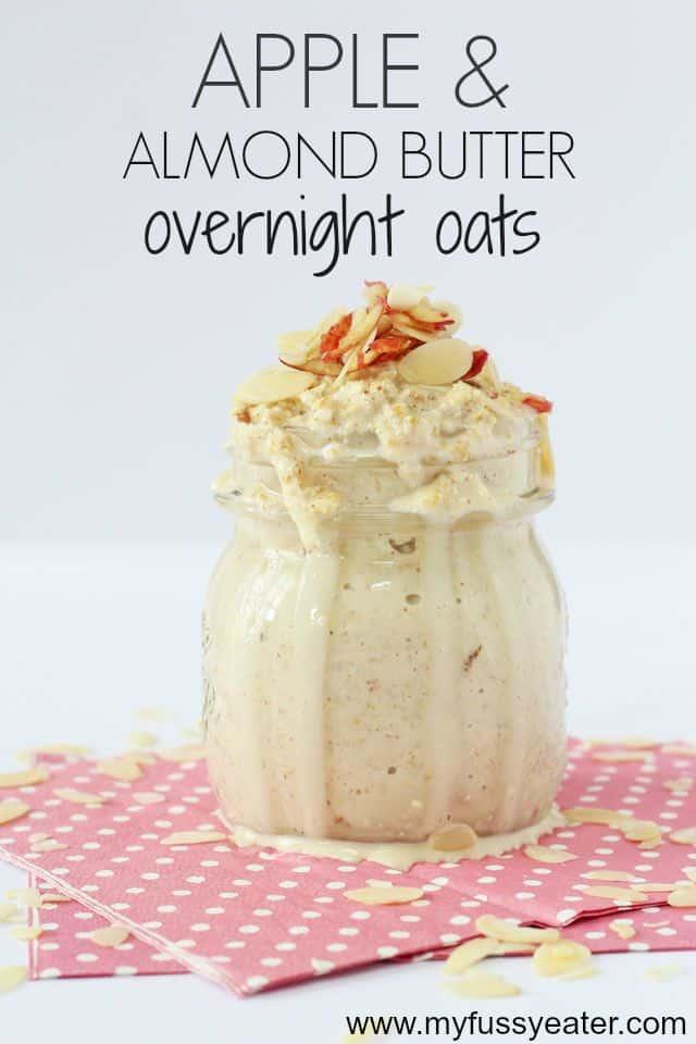 apple & almond butter overnight oats pinterest pin