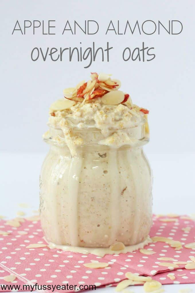 A tasty and healthy recipe for overnight oats with grated apple and almond butter | My Fussy Eater blog