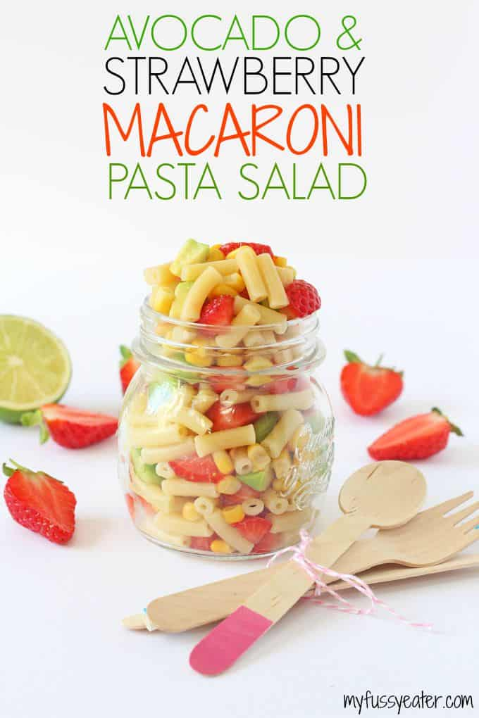 A delicious combination of avocado and strawberry makes this macaroni salad recipe the perfect summer meal and great for kids! | My Fussy Eater blog