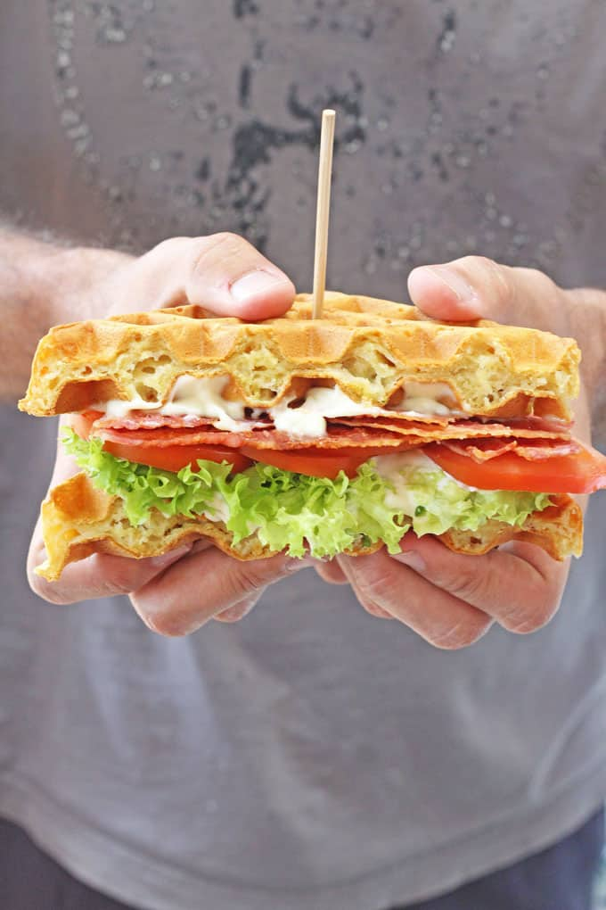 A delicious BLT sandwich made with savoury cheddar and chives waffles! | My Fussy Eater blog