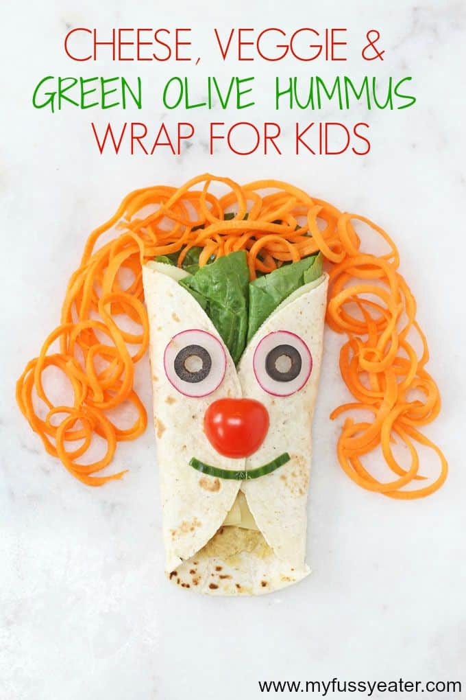 cheese, veggie & green olive hummus wrap for kids