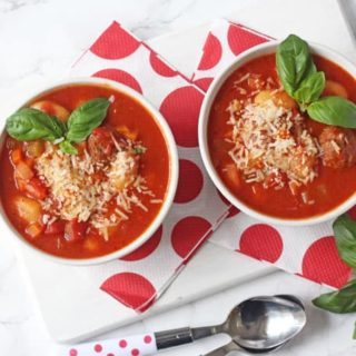 A delicious, warm and comforting Italian Meatball & Gnocchi Soup recipe. A super easy family meal made in the slow cooker. Minimum effort, maximum taste!