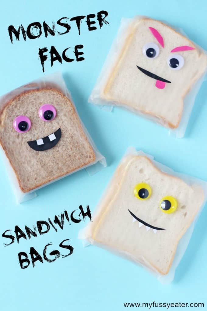 Make lunchtime fun for kids by popping one of these Monster Face Sandwich Bags in their lunchbox. Using plastic eyes and coloured paper to make fun monster faces! | My Fussy Eater blog