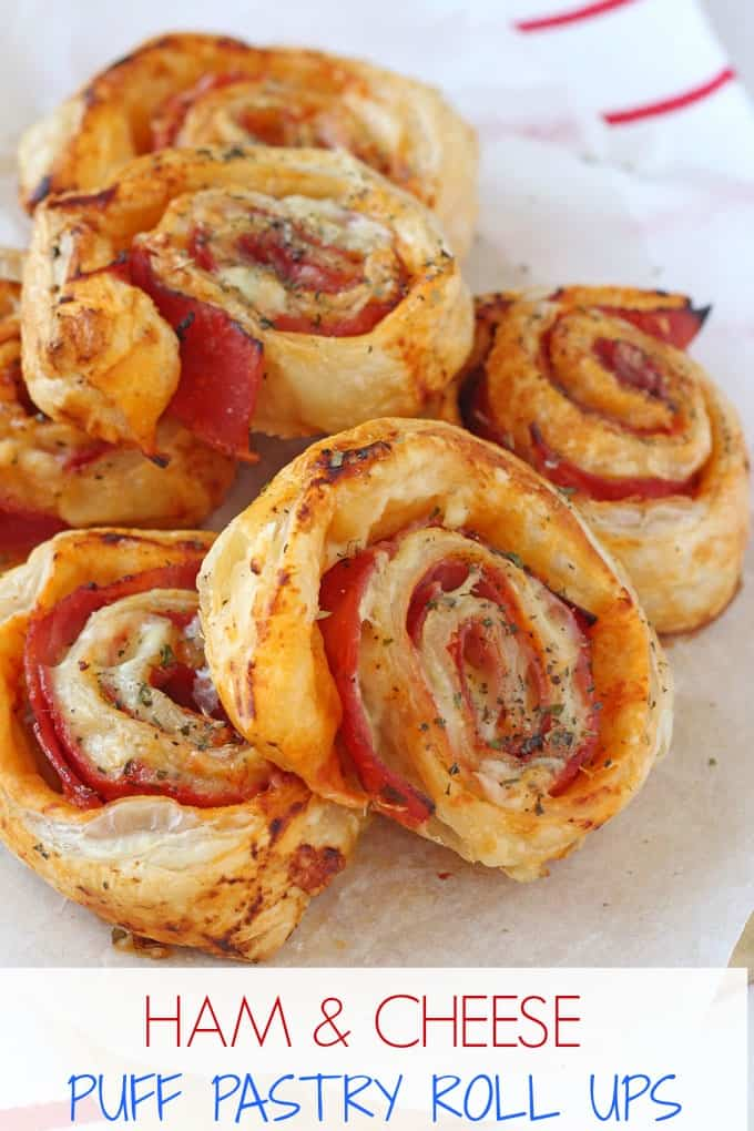 Delicious Ham & Cheese Roll Ups made with puff pastry