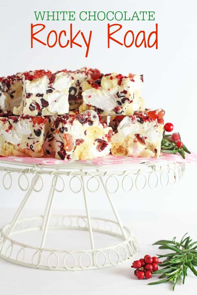 A super easy festive Rocky Road recipe made with white chocolate, cranberries and shortbread. A delicious decadent dessert that's perfect for Christmas!  My Fussy Eater blog