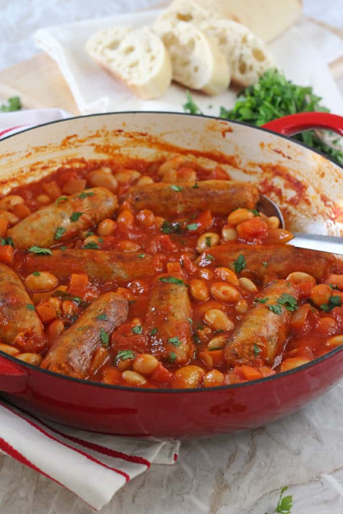 A quick and easy family dinner recipe; Sausage & Butterbean Casserole, cooked on the hob in less than 30 minutes! My Fussy Eater blog