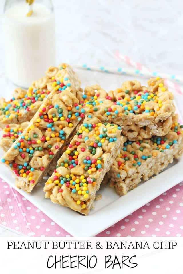 Super easy no-bake Cheerio Bars made with peanut butter and banana chips. A delicious snack that kids will love!