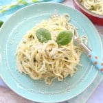 A super simple but delicious dinner recipe for kids. Creamy Basil Pesto Spaghetti. Nut free and ready in just 10 minutes! My Fussy Eater blog