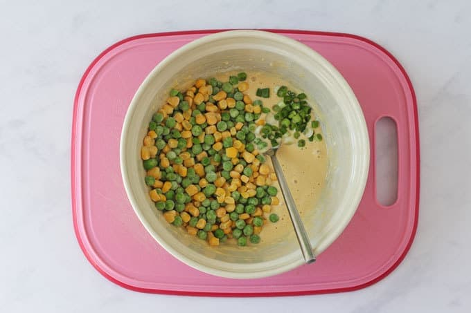 Peas and sweetcorn in a flour mixture