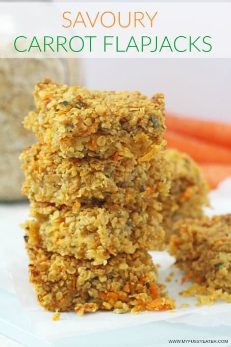 Delicious savoury flapjacks packed full of carrots, cheese, nuts and seeds. A really great healthy snack for kids! My Fussy Eater blog