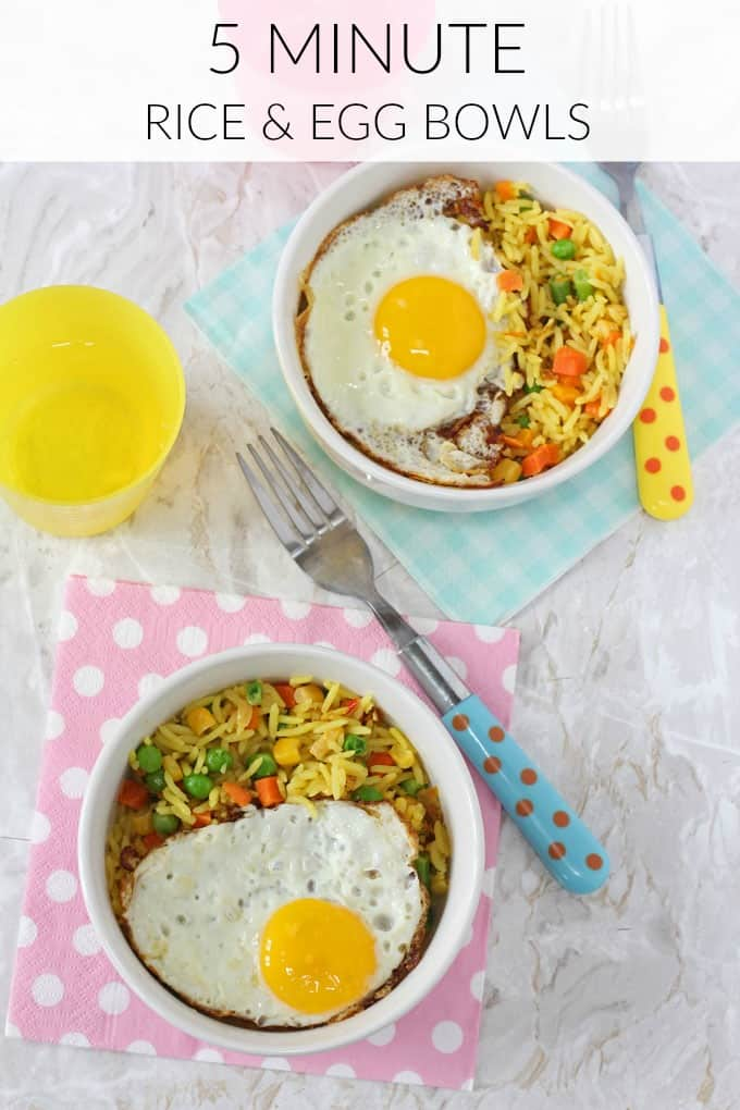Whip up a quick and tasty meal for the kids in 5 minutes with just 3 simple ingredients with this Vegetable Rice & Egg Bowl.