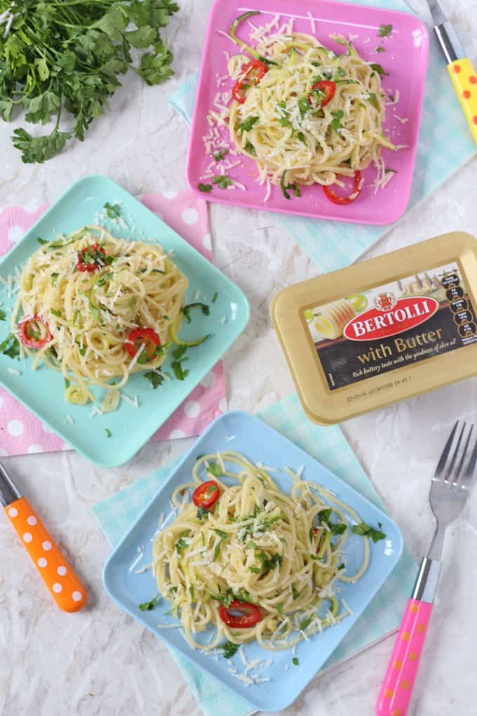 A delicious and super speedy spaghetti recipe made with Bertolli butter and with a hidden vegg