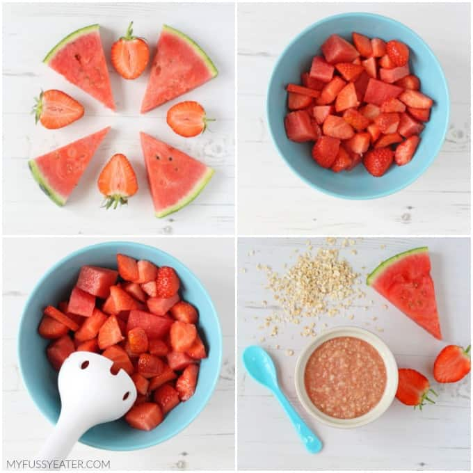 Babies will love this deliciously sweet combination of strawberries, watermelon and oats. The perfect summer meal for a weaning baby or toddler!