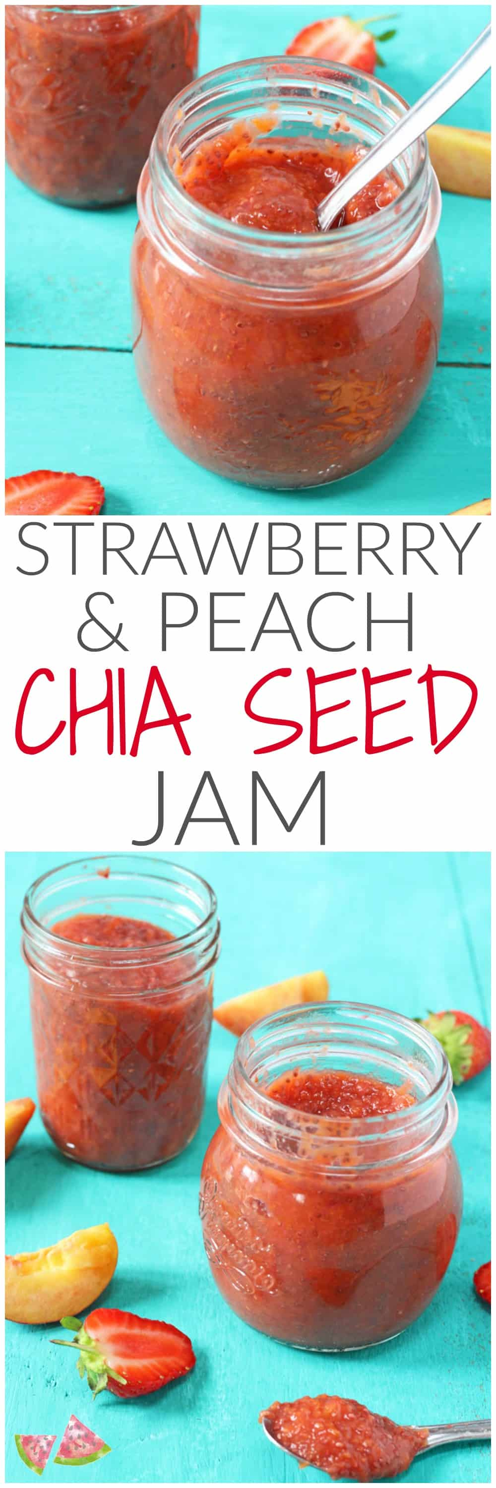 Delicious, super easy to make and refined sugar free, kids will love this healthier Strawberry & Peach Chia Seed Jam recipe!