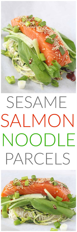 Sesame Salmon Noodle Parcels Pinterest Pin