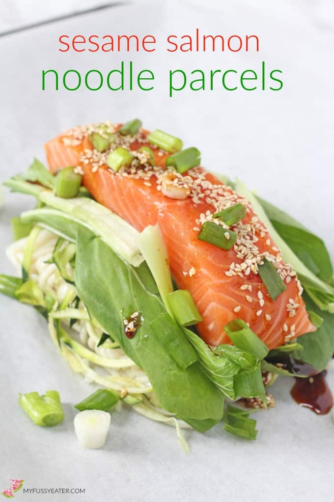A delicious and easy one pan meal with salmon, noodles and vegetables all cooked together in a parchment parcel.