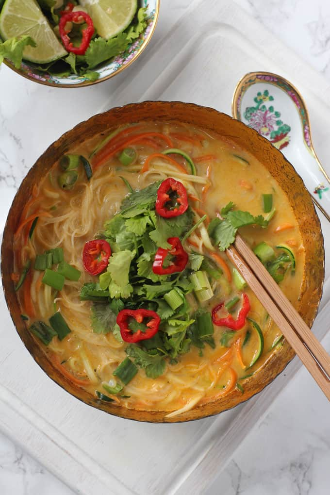 A really quick and easy vegetable laksa recipe, perfect for a healthy and delicious lunch for busy parents!
