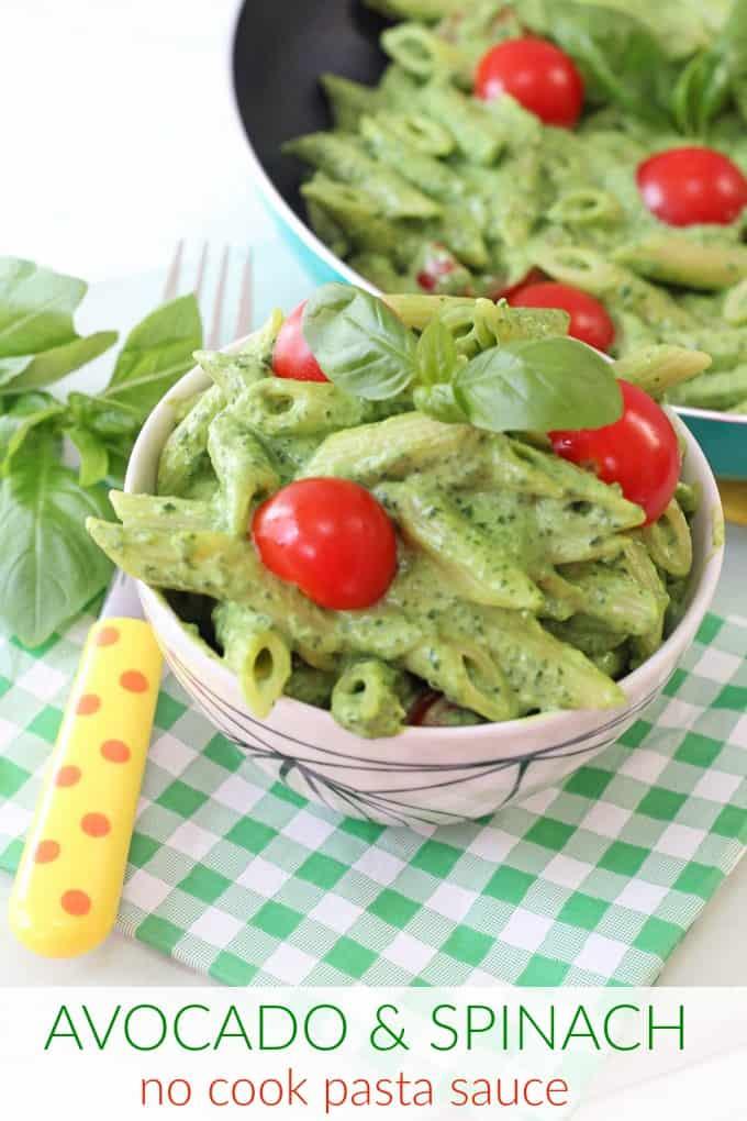 avocado & spinach no cook pasta sauce