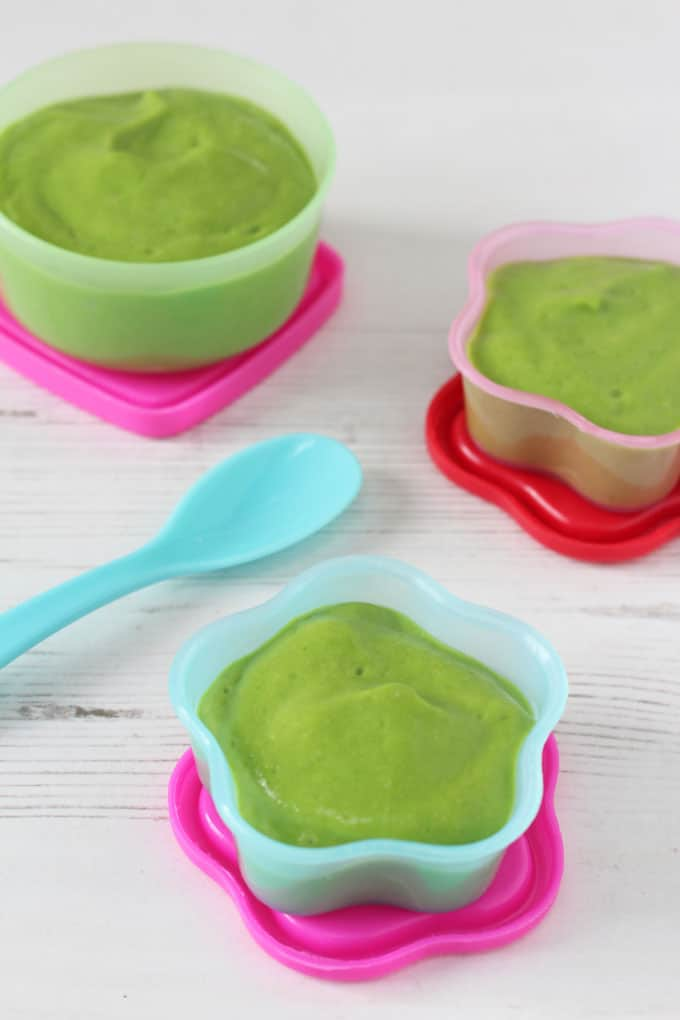 A delicious and nutritious baby food puree recipe made with spinach, avocado and cous cous