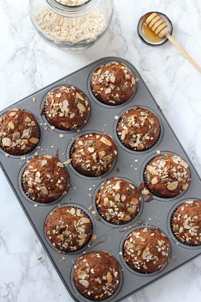 Healthy breakfast muffins packed with superfood ingredients such as manuka honey, chia seeds and flaxseed.