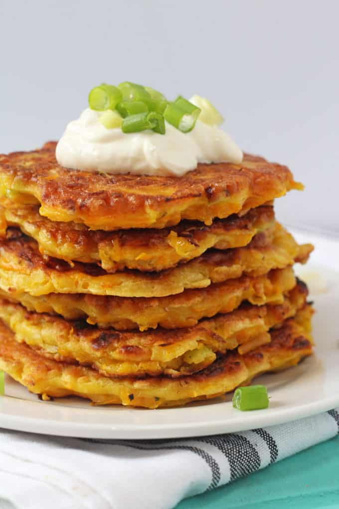 butternut squash fritters topped with creme fraiche