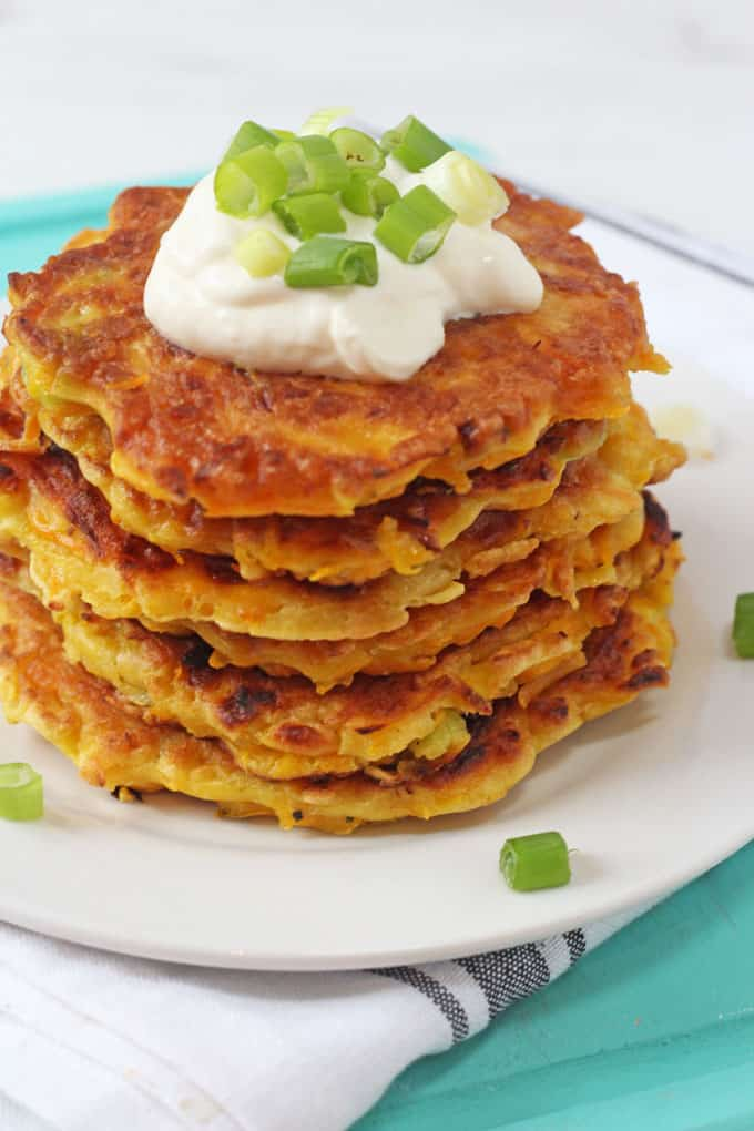These Butternut Squash Fritters make a delicious and comforting lunch or dinner the whole family will love. They're also a brilliant way to get some veggies into your picky eaters!