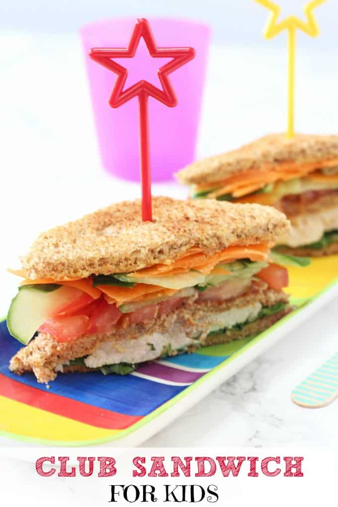 chicken, hummus and veggie sandwich for kids