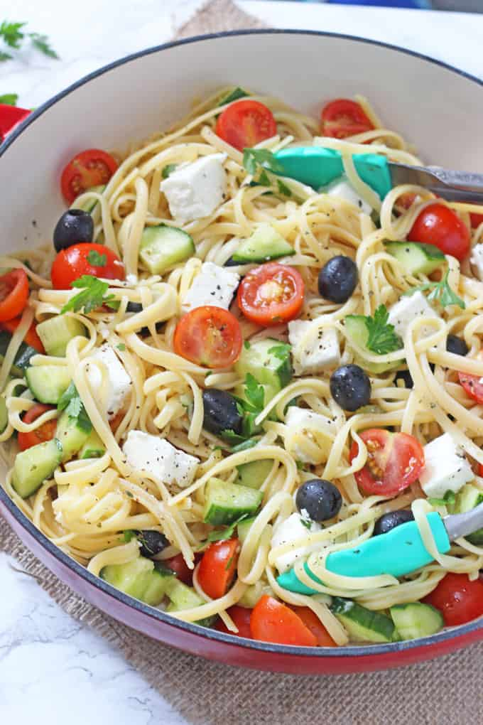 A simple but delicious Greek Salad Linguine recipe, quick and easy to make and can be eaten hot or cold!