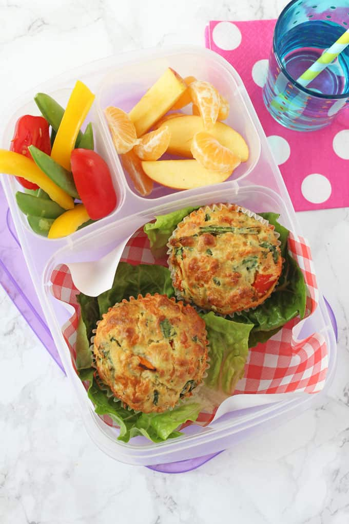 savoury muffins in a lunchbox
