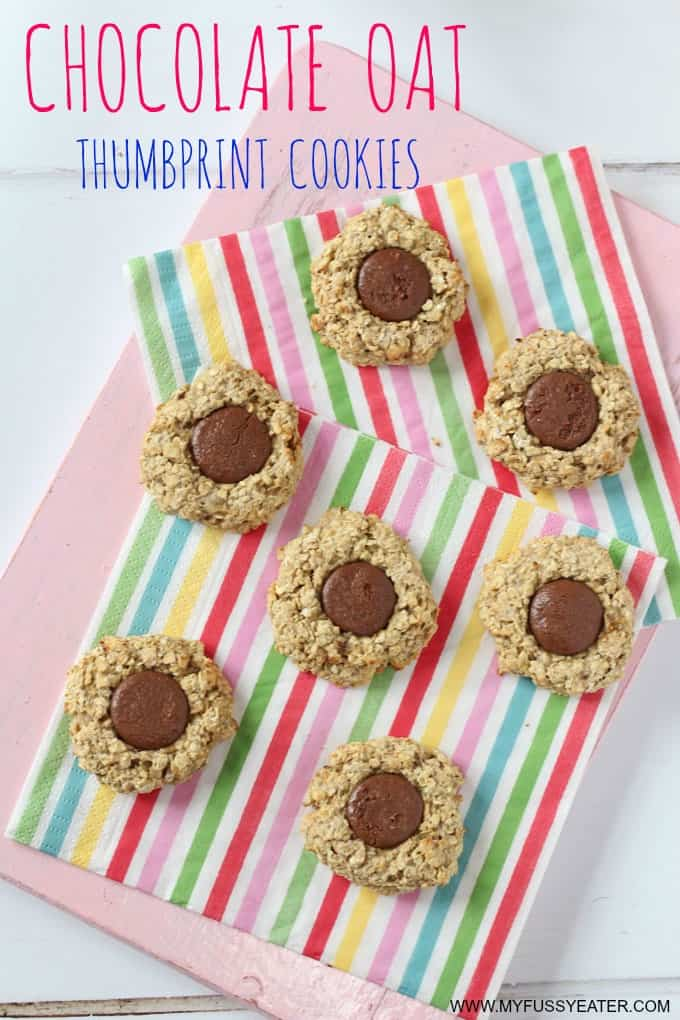 chocolate oat thumbprint cookies pinterest pin