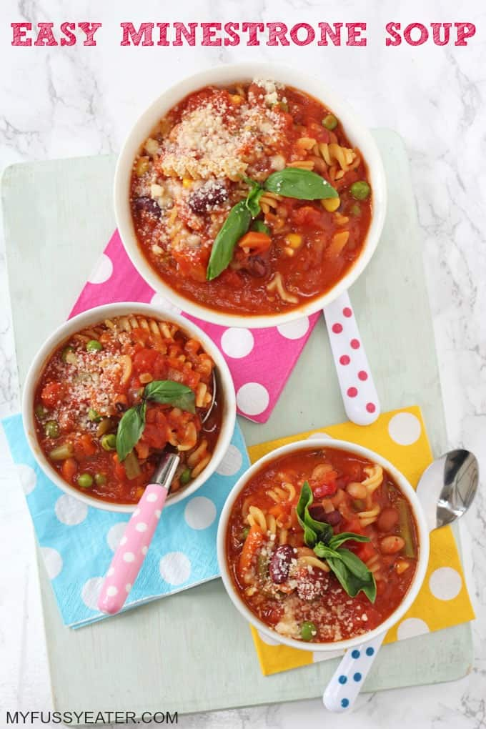 A super easy Minestrone Soup recipe, ready in just 15 minutes. A perfect winter warmer for the whole family!