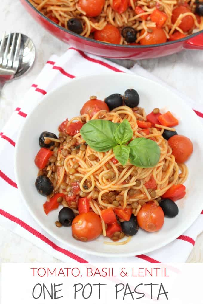 One Pot Tomato & Basil Lentil Spaghetti pinterest pin