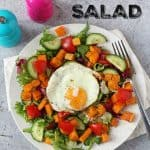 An easy and delicious Winter Butternut Squash Salad recipe, super quick to make and topped with a tasty fried egg!